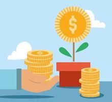 Composición de pagos y finanzas con árbol del dinero. vector