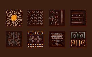 conjunto de azulejos de adorno étnico