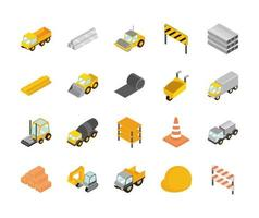 conjunto de iconos de construcción isométrica vector