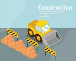banner de construção isométrica