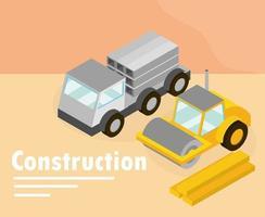Isometric construction banner