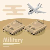 Military aircraft and tanks composition vector