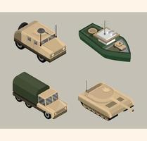 conjunto de ícones militares isométricos