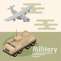 Isometric military aircraft and tanks composition