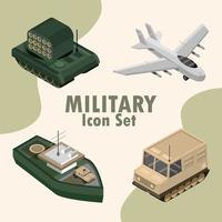 conjunto de iconos militares isométricos