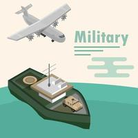 Isometric military aircraft and ship composition vector