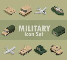 Isometric military icon set vector