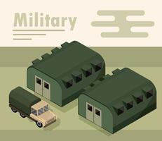 Isometric military camp composition vector
