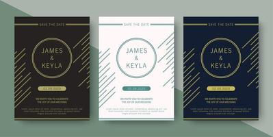 Wedding invitation with elegant abstract lines vector