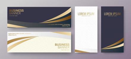 Luxury golden wave business banner set