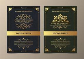Restaurant menu with elegant ornamental style vector