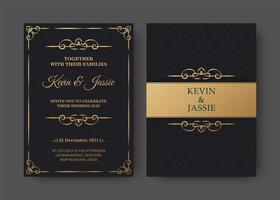 Black and gold invitation card template vector