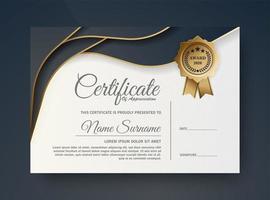 design de certificado azul escuro e dourado