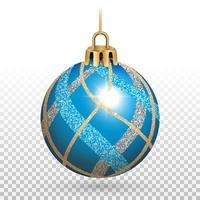 enfeite de bola de natal azul brilhante com listras brilhantes