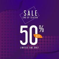 End of season sale banner design on purple