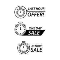 Sale countdown and promo set vector
