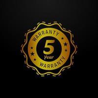 Golden five year warranty emblem vector