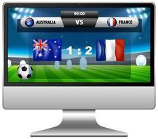 Football match score news on computer screen