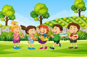 niños en la escena de la naturaleza al aire libre
