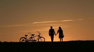 Silhouette of  Beautiful Couple With Tandem Bicycles Walking Holding Hands Against Fabulous Sunset Backgrund video