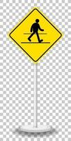 Yellow traffic warning sign isolated