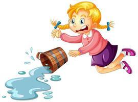 niña con balde de agua sobre fondo blanco