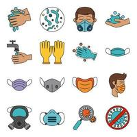 Coronavirus and viral infection icon set