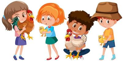 Set of different kids holding chicken isolated