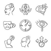 Alzheimer's disease and dementia symptoms icon set vector