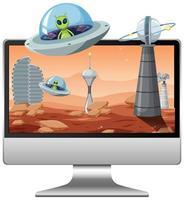 Fondo de galaxia alienígena en la pantalla de la computadora