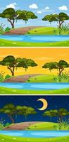Landscape scene at different times of day vector