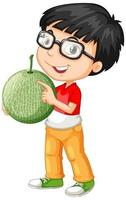 Nerdy boy holding melon fruit in standing position vector