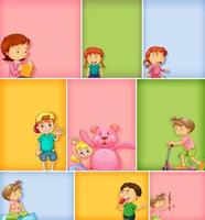 Set of kids characters on different color background