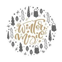 Winter Magic Scandinavian calligraphic vintage text