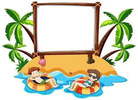 banner en blanco en la isla temática de verano