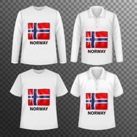 Conjunto de diferentes camisetas masculinas con bandera de Noruega.
