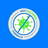 Antibacterial design on blue background