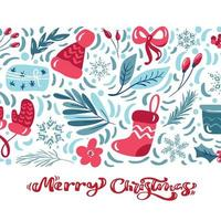 Merry Christmas calligraphic lettering text