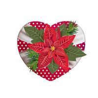 Navidad flor roja poinsettia en caja de regalo en forma de corazón