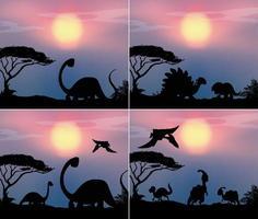 conjunto de dinosaurios en el fondo de la naturaleza vector