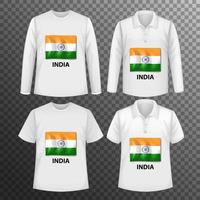Set of different male shirts with India flag screen