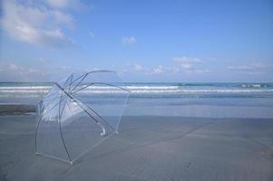 una sombrilla en la playa