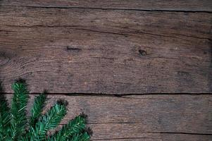 Merry Christmas background with wooden table
