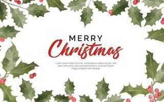 Christmas background with floral watercolor