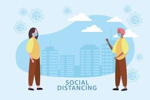 Social distancing poster with masked people and cells outdoors