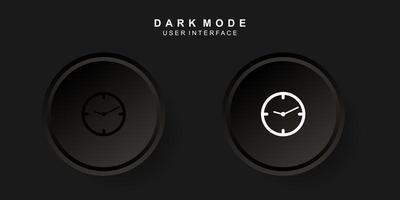 interfaz de usuario de hora creativa simple en diseño de neumorfismo oscuro