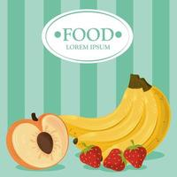Fresh food template banner with fruits vector