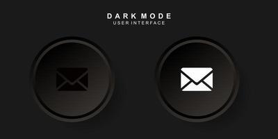 Simple Creative Mail User Interface in Dark Neumorphism Design vector