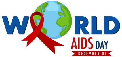 World AIDS Day banner with red ribbon on Earth