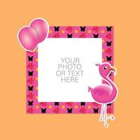 Photo frame with cartoon flamingo and balloons